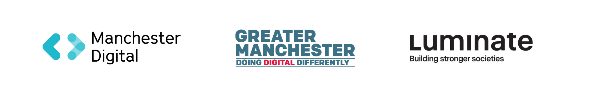 Manchester Digital, GMCA and Luminate logos